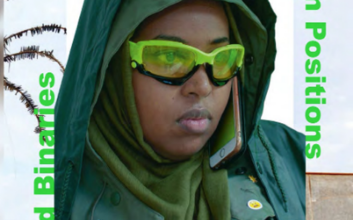 Photography of person in portrait with green glasses and green clothes
