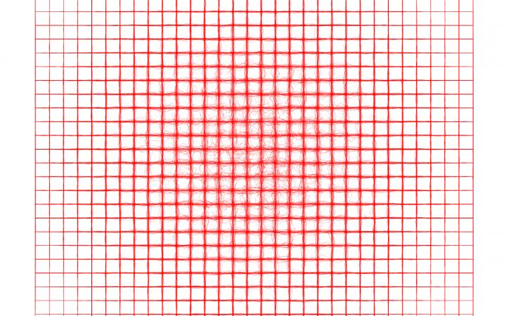 2D-Quadrat roter Gitterlinien