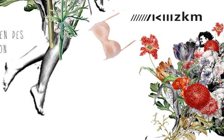 Collage aus verschiedenen Tulpen und Köpfen des Gründers von Karlsruhe, Karls Wilhelm von Baden-Durlach, sie bilden einen Blumenstrauß. Außen ist der Titel des Workshops zu lesen und daneben Frauenbeine und ein durch die Luft wirbelnder BH.