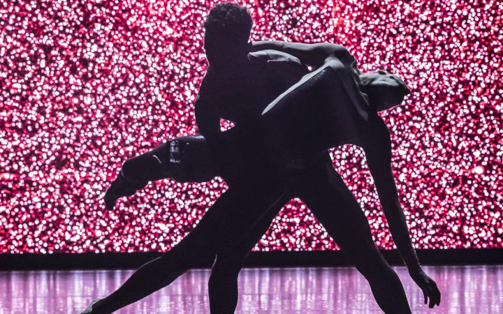 The silhouette of two interwoven dancers in front of a pink-lit background