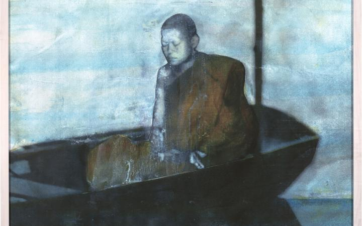 Painting showing a monch in a boat.