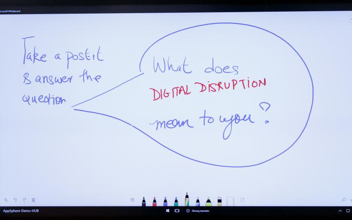 Ein weißes Smartboard mit der Aufschrift: What does digital disruption mean to you?