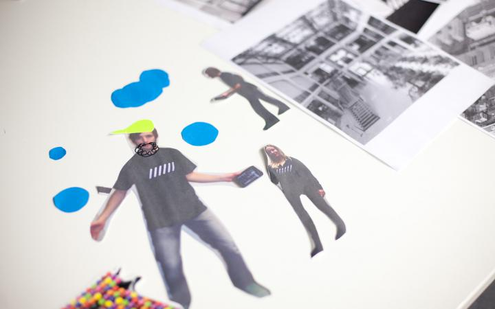 A collage with three persons and some colourful shapes.