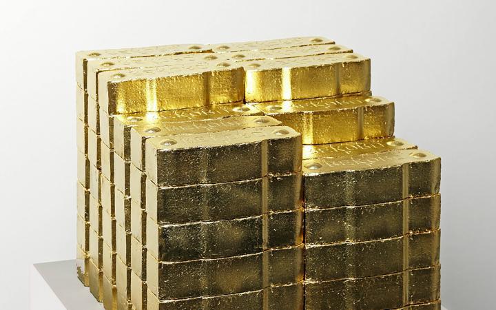 Foto eines Stapels von Goldbarren