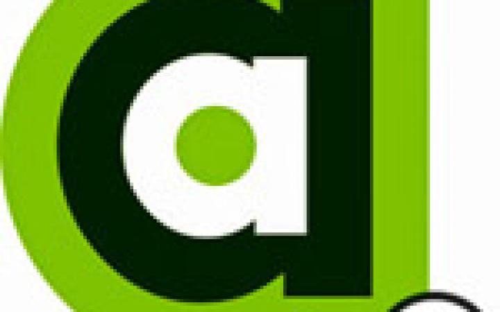 "The logo of the AppArtAward. Small ""a"", green, black and white framed, with a ""plus"" on the bottom right corner."