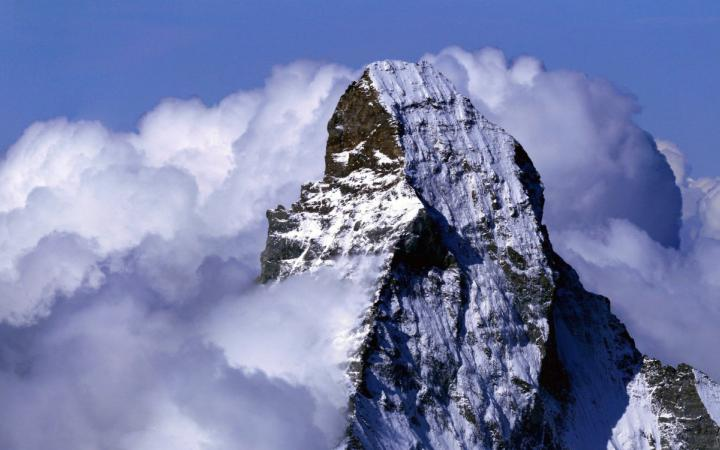 Matterhorn and Dent d'Hérens from the summit of the Dom (above Randa, Valais)
