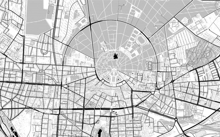 Das Bild zeigt eine schwarz-weiße Stadtkarte von Karlsruhe