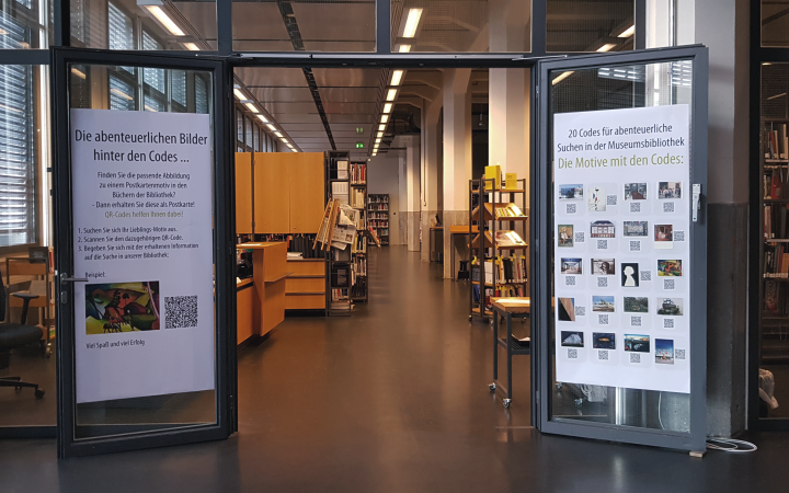 Entrance of the library with qr-codes