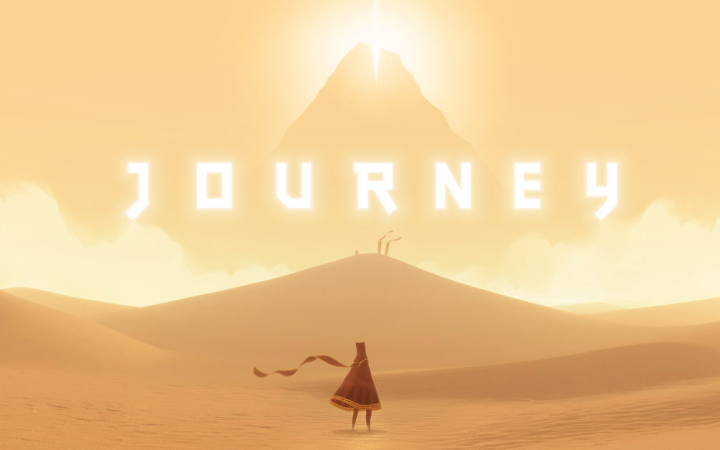 A headless woman stands in the desert in front of a mountain, above that it says »Journey«