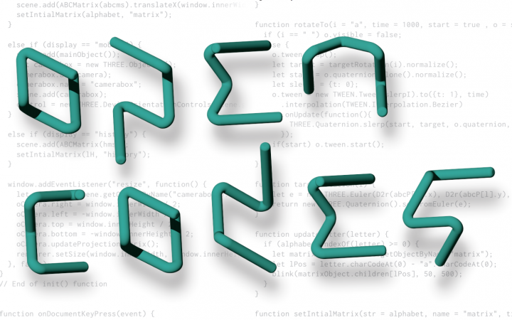 """You can see the logo of """"Open Codes"""" in turquoise color on white background with light gray code on it"""
