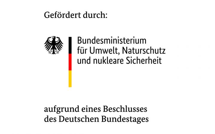 """Das Bild ist ein Logo das besagt: """"Gefördert durch: Bundesministerium für Umwelt, Naturschutz und nukleare Sicherheit aufgrund eines Beschlusses des Deutschen Bundestages"""", links ist in einem dünnen, vertikalen Streifen die deutsche Flagge zu sehen."""