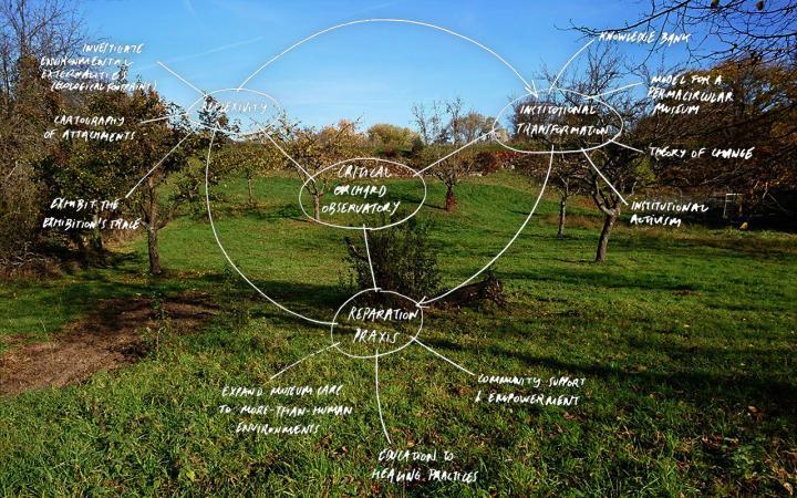"""Foto der ZKM-Streuobstwiese, darübergelegt eine Mindmap in weißer Handschrift, in der Mitte steht """"Critical Orchard Observatory"""""""