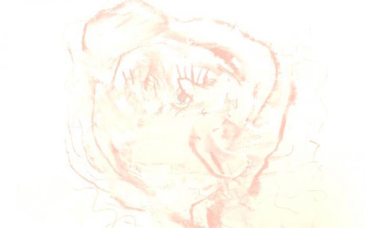 Ein abstraktes Gebilde aus verwischten rosa Linien vor einem weißen Hintergrund