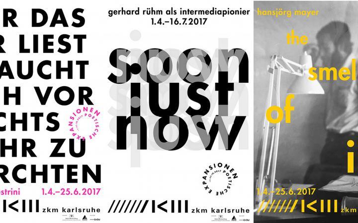 Das Foto zeigt die Ausstellungsplakate von Nanni Balestrini, gerhard rühm und Hansjörg Mayer