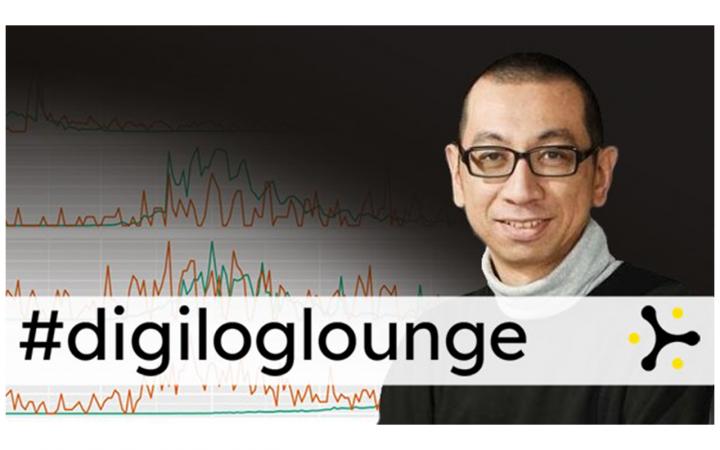 Zu sehen ist Dr. Chung-hong Chan, der in die Kamera schaut, Im Hintergrund statistische Grafiken. Auf dem Bild steht #digiloungedigital.