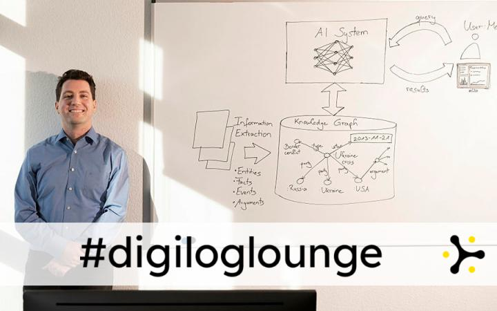 """Ein lächelnder Mann neben einem Whiteboard voller handschriftlicher Skizzen zu Informationsflüssen unter Einbezug von KI. Über dem Bild liegt das Banner """"#digiloglounge""""."""