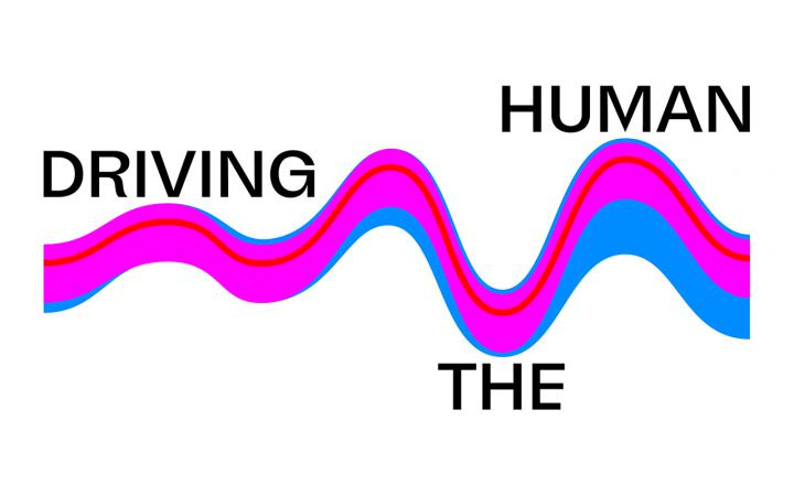 """Logo with the words """"Driving the Human"""" and an abstract wave form in blue and pink."""
