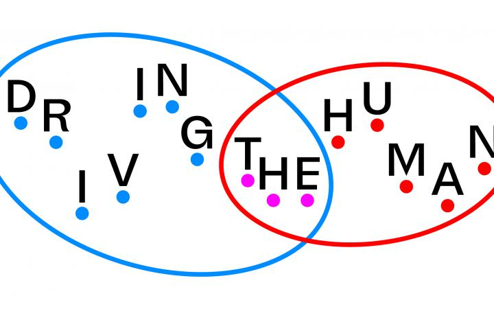 """Two circles intersect. The left circle says """"Driving"""", the left circle says """"Human"""" and the intersection carries """"The"""". All letters are located on individual points."""