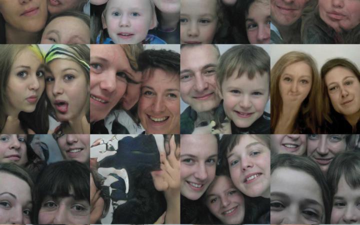 Collage aus kleinen Passbildern mit unterschiedlichen Menschen.