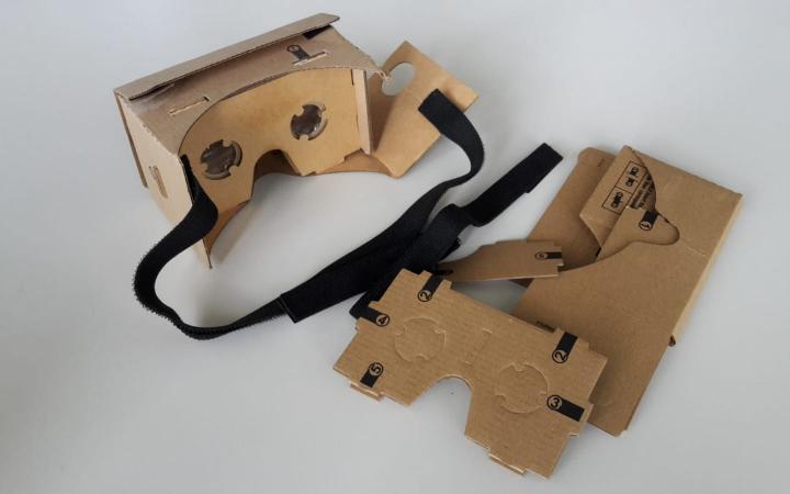 The photo shows Google-Cardboard-Glasses