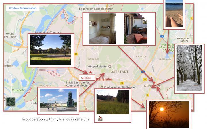 Das Bildschirmfoto zeigt die Karte von Karlsruhe mit verschiedenen Orten makiert. Wohnraum, Schule sowie Freizeitaktivitäten sind vermerkt.