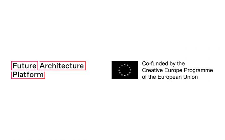 "Links: ""Future Architecture Platform"" in schwarzer Schrift, pink umrandet; rechts: ""Co-funded by the Creative Europe Programme of the European Union"" neben der EU-Flagge"