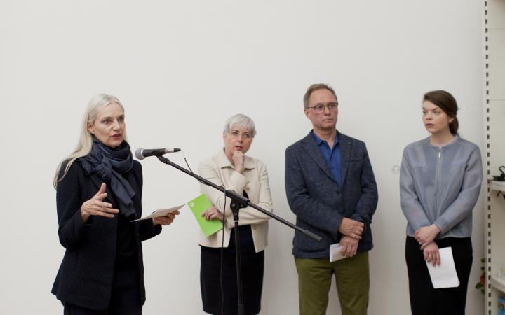 Christiane Riedel, Managing Director of ZKM, speaks at the opening in Tallinn