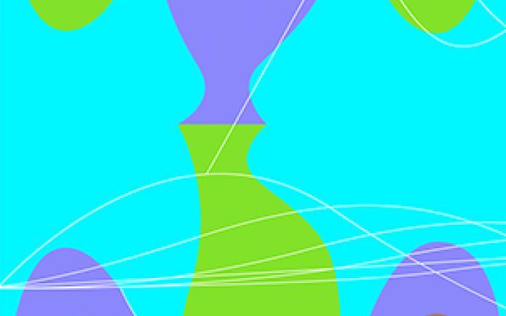 Buntes Bild aus beinahe achsensymmetrischen angeordneten Halbkreisen und Ovalen.