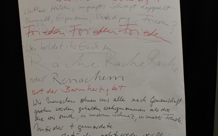 Jemand hält ein riesiges Blatt vor sich, sodass man nur noch die beiden Hände sieht. Auf dem Blatt stehen Ergebnisse von einem Workshop geschrieben.