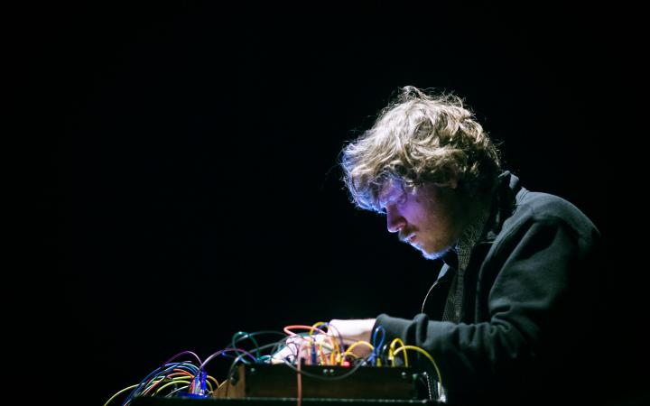 John Chantler synthesizing at a concert