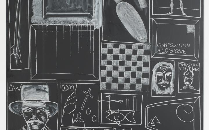 Panel by the artist Andy Hope 1930: White drawings on black ground