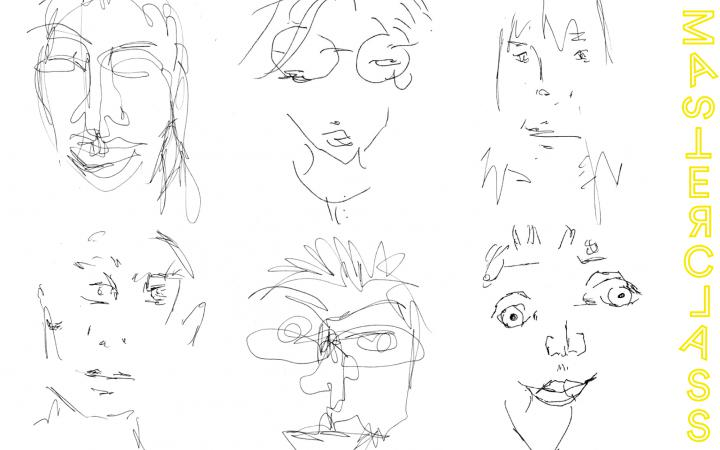 On a white background there are six portraits. They are drawn by pencil and as it seems without looking at the paper. That leads to faces that appear distorted.