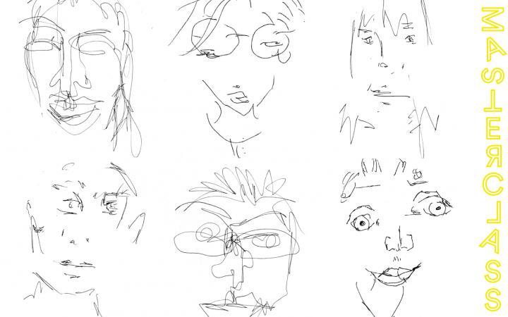 Auf weißem Hintergrund sind sechs Portraits zu sehen. Sie bestehen aus Bleistiftlinien und scheinen ohne auf das Blatt zu sehen gezeichnet worden zu sein, wodurch die Gesichtszüge verzerrt erscheinen..