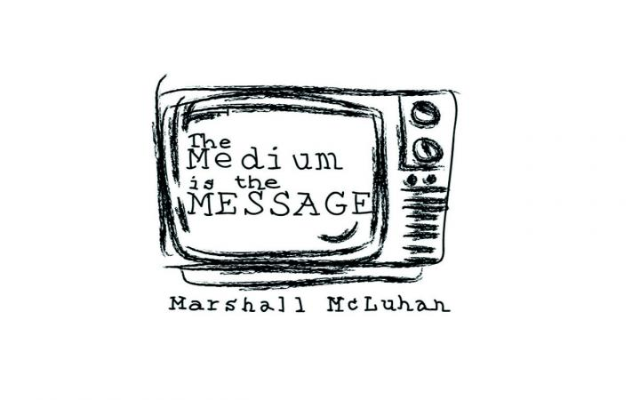 Drawing of a TV with the words »The Medium is the Message«