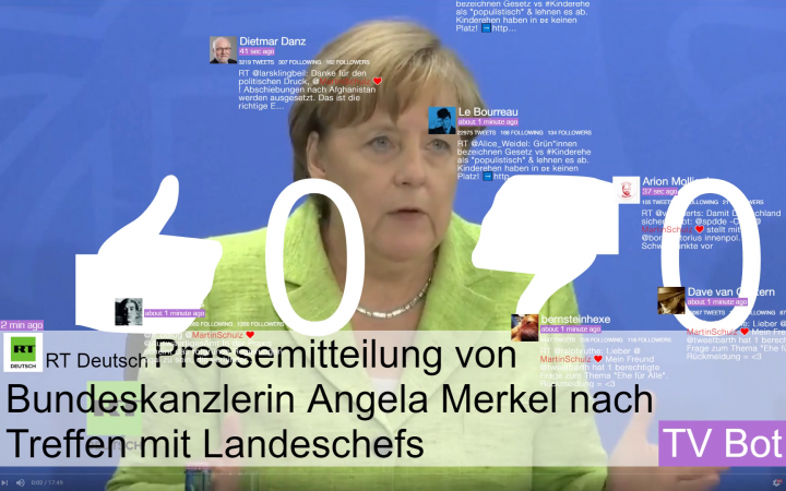 Ein Screenshot von Russia Today, welcher eine Preserkonferenz der Bundeskanzlerin Angela Merkel zeigt. Darüber sind verschiedene Meldungen und Symbole aus Sozialen Netzwerken gelegt.