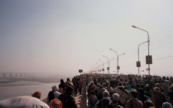 Crowds on a bridge