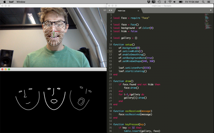 A screenshot in which a person is captured by facial recognition software.