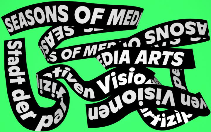 Plakat »Seasons of Media Arts. Stadt der partizipativen Visionen«