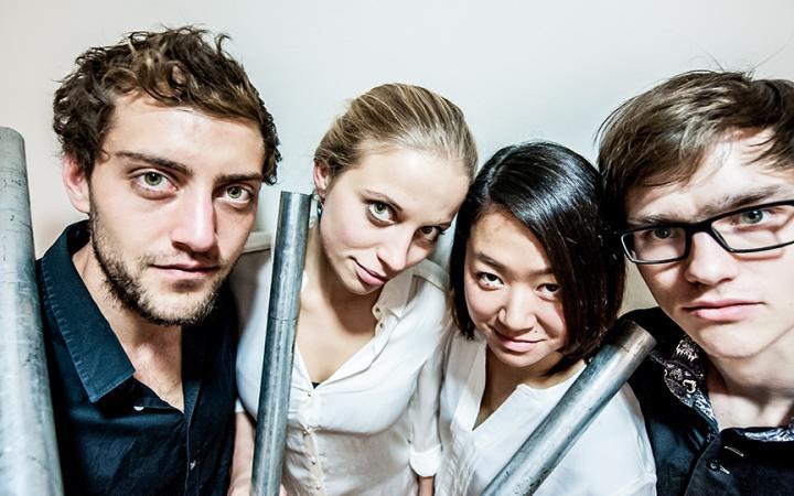 Vierköpfiges Ensemble des Daidalos Percussion Quartet.
