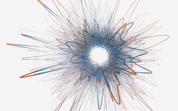 Zu sehen ist eine Visualisierung eines Netzwerkes. Die Form des Netzwerks erinnert an ein Stern, der explodiert.