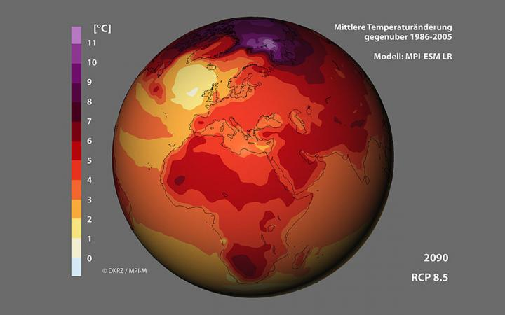 A world map with the average temperature change compared to 1986-2005