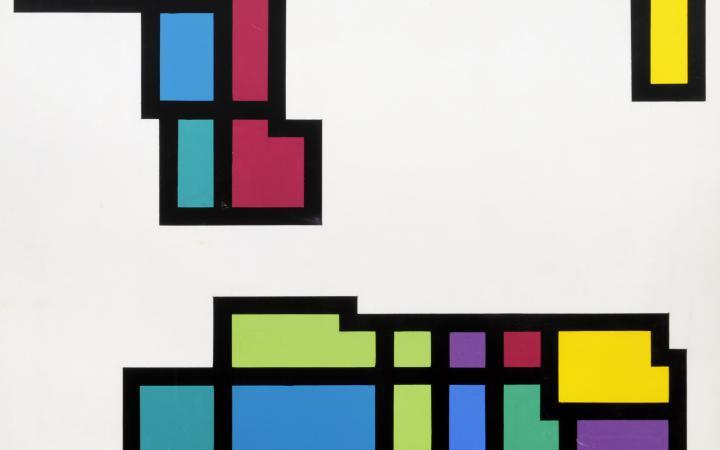 Das Bild zeigt ein Werk von Hiroshi Kawano aus der Reihe »Artificial Mondrian«: Schwarz umrandete Farbfelder auf weißem Grund.
