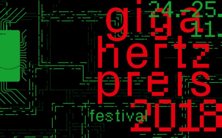 Giga-Hertz-Preis 2018 in roter Schrift auf grünem Hintergrund