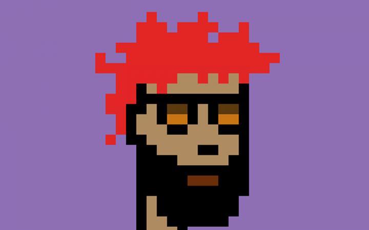 Eine pixelige Graphik von einem Mann mit roten Haaren und Vollbart