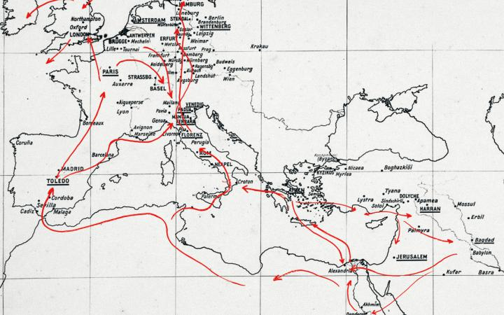 Map of Europe and North Africa with red arrows.