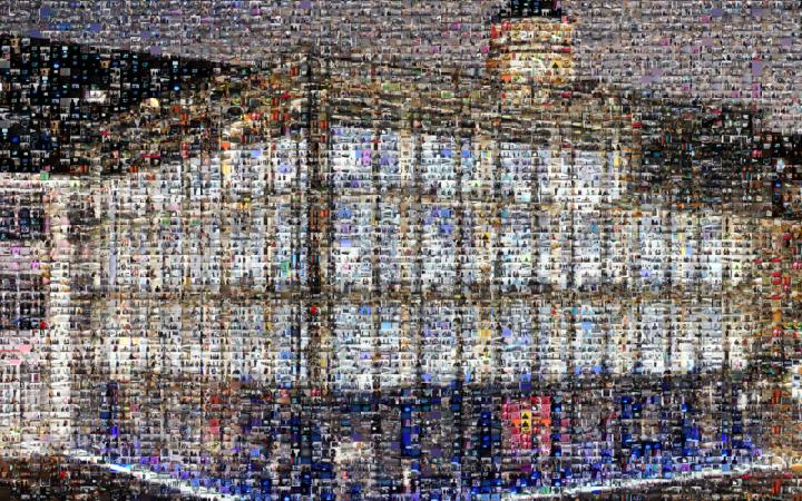 The cube as a mosaic of many different images