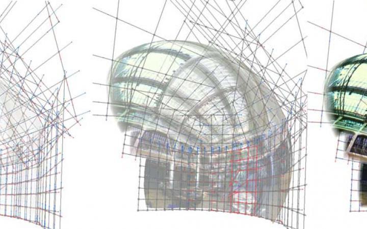 Drei Gitternetze, über die sich immer deutlicher eine Abbildung des ZKM_Foyer zeigt
