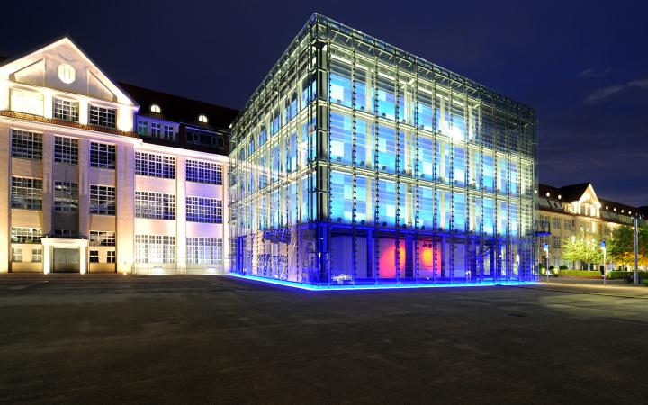 The ZKM_Cube at night