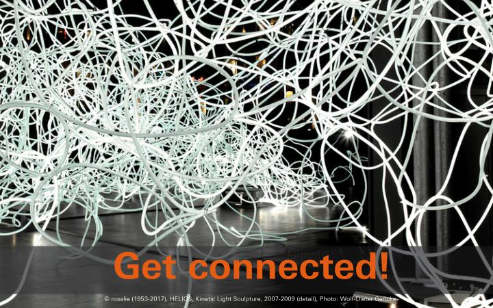 A large tangle of cables can be seen, many ropes are interwoven. In the lower edge of the picture it says »zkm digital – get connected!«