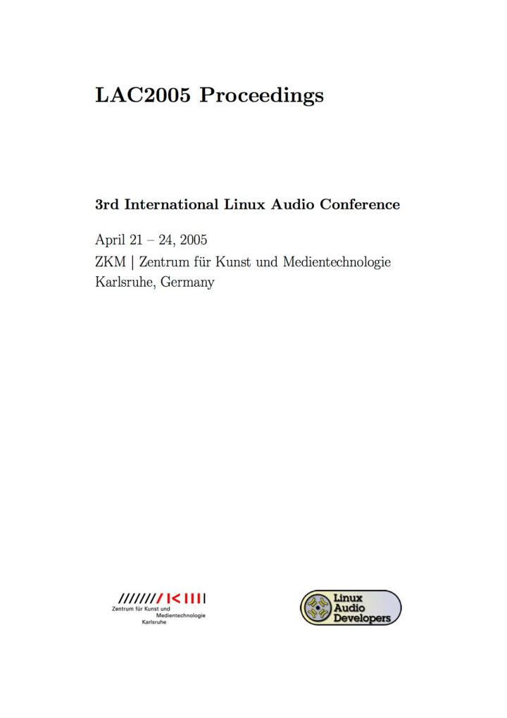 Cover of the publication »LAC2005 Proceedings«